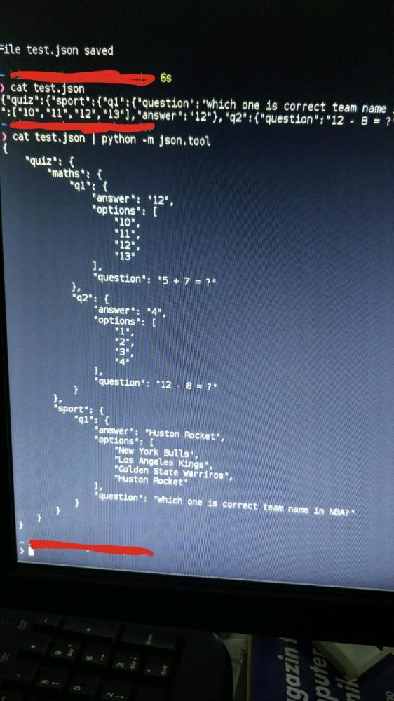 python - Tip: pretty print json file using: cat file json | python