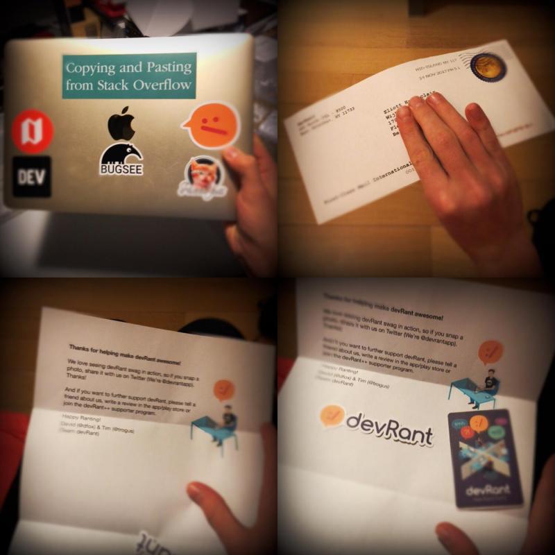 stickers devrant - Thanks again devRant, @dfox and @tragus