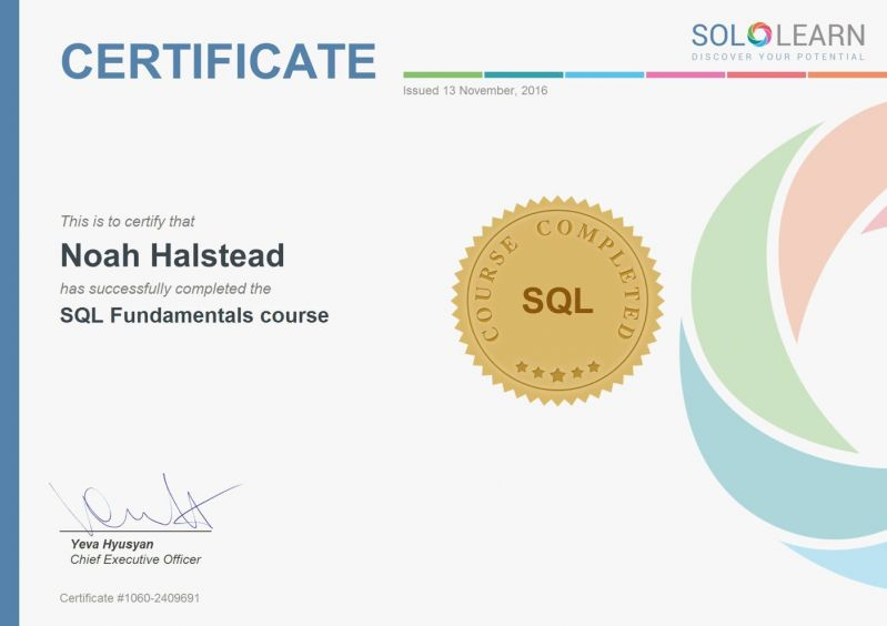 Certificate Got My Certificate For Sql What Do You Think I