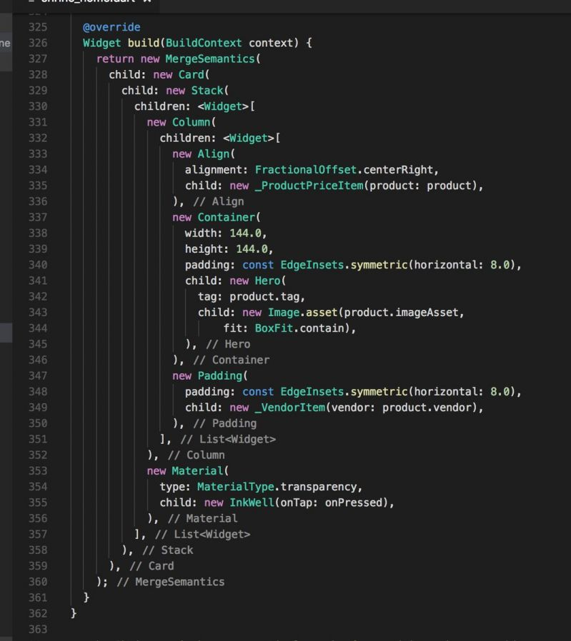 09eb27a2ed4d I really do like Flutter Dart but I just cannot be the only who thinks that  the way to create several nested components widgets is even close to  somewhat ...