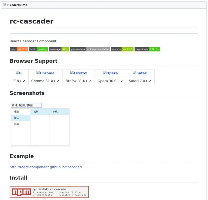 react - - Searched for a cascader component for React - Installed it